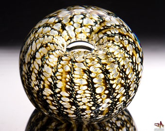Handcrafted Glass Paperweight - White and Brown Stripes