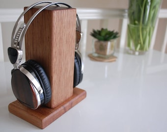 Reclaimed Wood Handmade Wireless/ Wired Headphone Stand with base