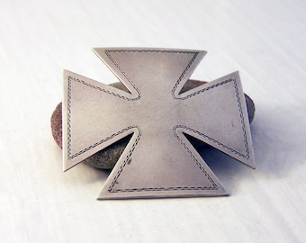 Vintage Silver Maltese Cross Pin, Silver Cross Brooch, Sterling Silver Brooch , Reserved for NJP