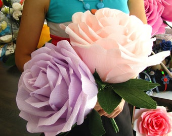 Giant paper flower 9 giant rose two tone flower lilac giant paper rose pink purple 9 flower bridal bouquet giant paper flower mightylinksfo Images