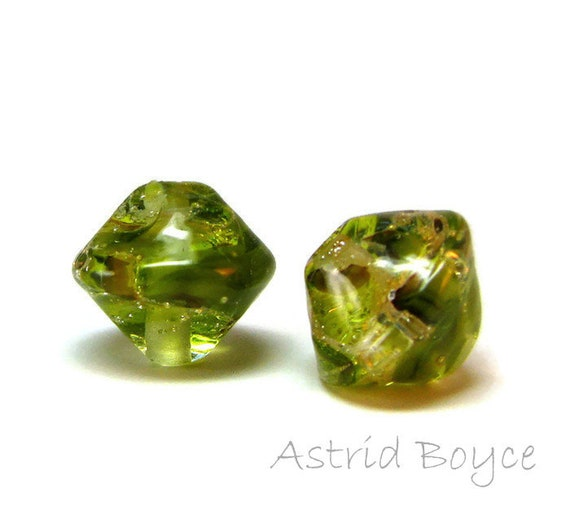 Sparkling Diamond Olive Artisan Lampwork Glass Bead Pair - bicone shape - Free USA Shipping - Glass for Necklaces - Green Transparent Glass