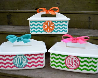 Personalized White Shower Caddy with Chevron Design; Perfect Graduation Present; Also great gift for a Teacher's Classroom