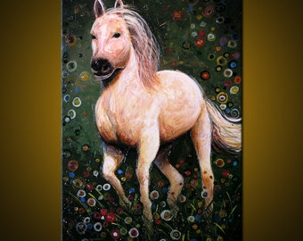 """Amy Giacomelli Painting Original Large Abstract Impasto Textured Horse .... 24 x 36 ... """"Majestic"""", plz c close ups"""
