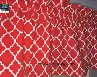 "Kitchen Curtain Red and White Curtain Valance LAST ONE Geometric Lattice Trellis Bedroom Curtain 11"" x 42"" Wide Valance Modern Decor"