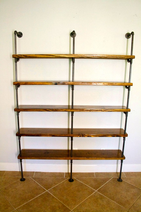 industrial pipe bookshelves pipe shelving unit bookshelf. Black Bedroom Furniture Sets. Home Design Ideas