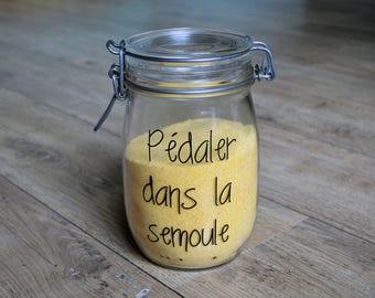 """Black sticker """"Pedal in cornmeal"""" sticker vinyl decor storage kitchen zero waste zero waste glass jar"""