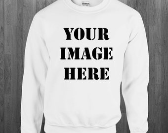 Create your custom Sweatshirt Print Any image color or black/white on a white Crewneck Sweater Youth Adult size Sweatshirts S-4XL
