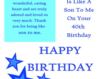 Like a Son 40 Birthday Card with removable laminate