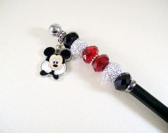 Beaded Stylus - black, red, silver with Mickey Mouse charm