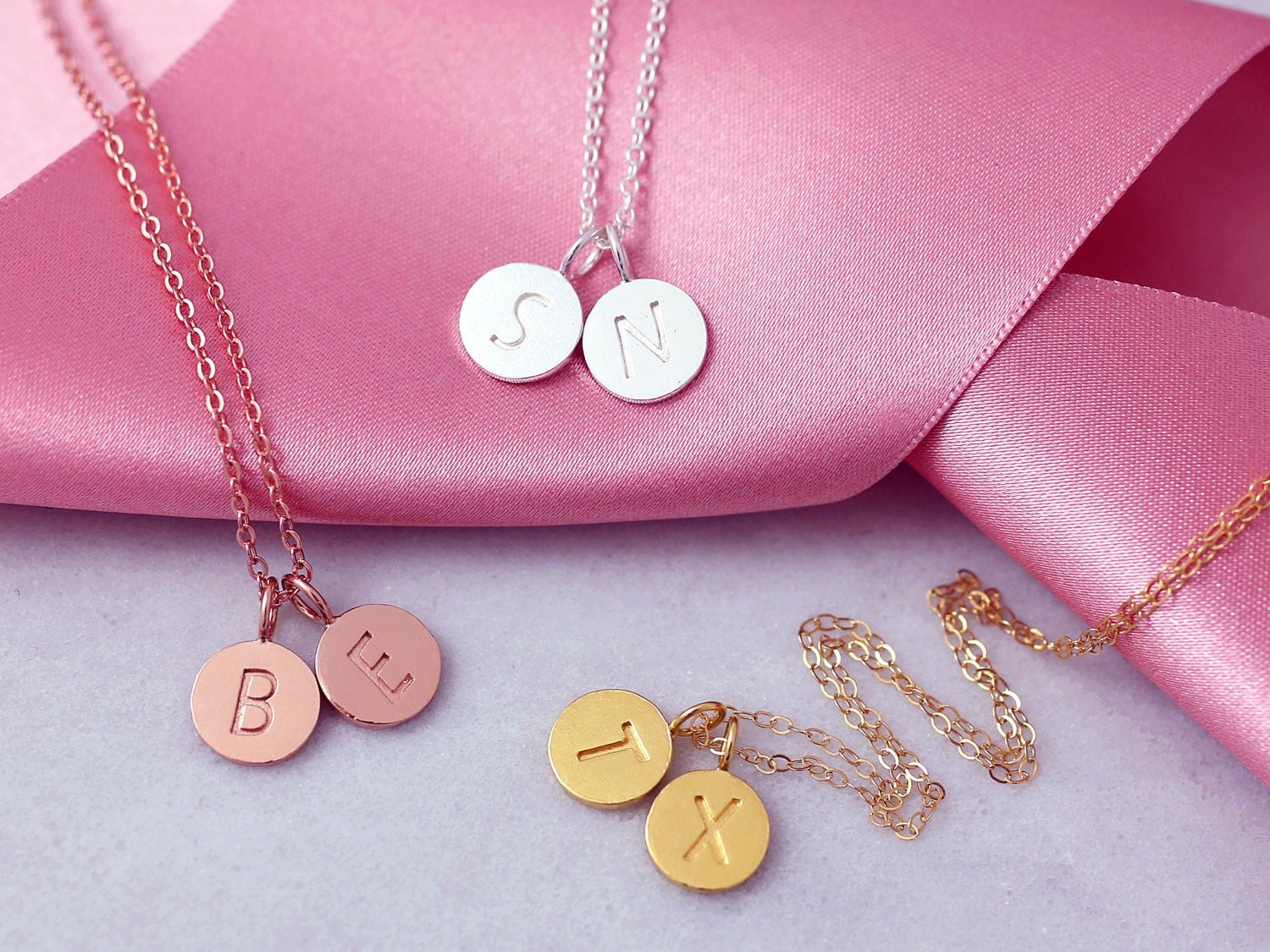 Two Letter Necklace Tiny Letter Necklace Dainty Thin Chain