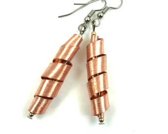 Copper Earrings Twisted Metal Jewelry