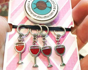 4 cute glass of wine Stitch markers