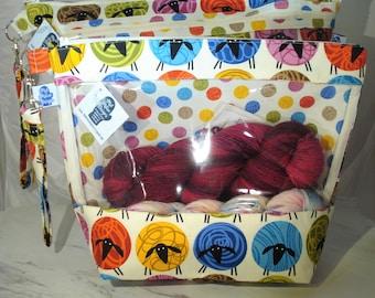 All's Wool - Multi - Knitting Project Bag, Zippered Project Bag, Knitting Wedge Bag, Yarn Tote Bag, Yarn Bag, Knitting bag,
