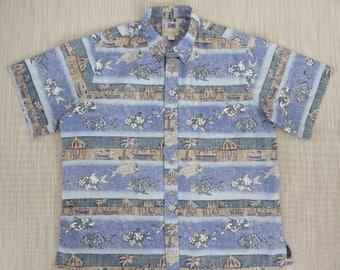 Hawaiian Shirt KAHALA AVi Collection Funky Fish Tropical Island Paradise Reverse Print 100% Cotton Mens Camp - 2XL - Oahu Lew's Shirt Shack