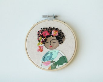 Embroidery Hoop Art, Embroidered Illustration of a Girl, Hand Embroidered