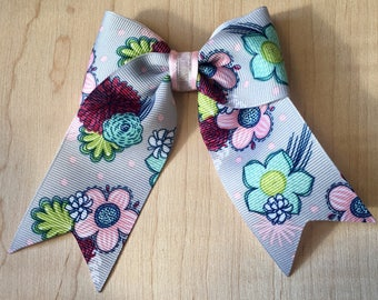 Patterned Floral Gray Polka Dotted Hair Bow