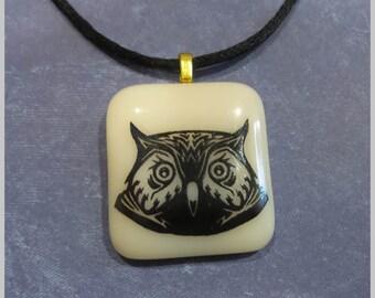 Owl Pendant, Wisdom, Graduation Gift, Ready to Ship, Earthtone Pendant, Black Owl, Gifts Under 20, Fused Glass Jewelry - Athene Noctua --6