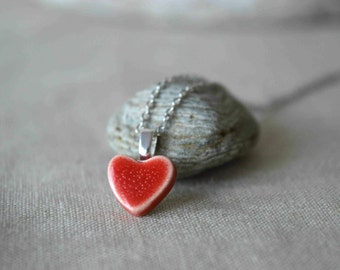 Valentines day gift, red heart necklace, ceramic jewellery, small pendant, gift for wife