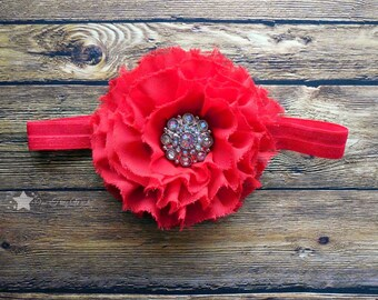 Baby girl headband, red headband, infant girl headband, newborn girl headband, infant headband, newborn headband, baby headband, hair clips
