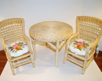Samantha's Wicker Table and Chairs - Vintage Pleasant Company - American Girl Doll Furniture