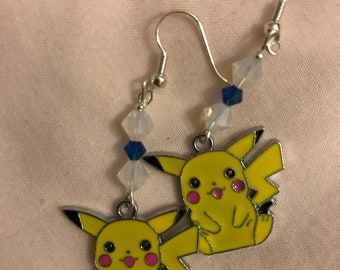 Picachu earrings with Israel flag accent Swarovski crystals (very limited edition)