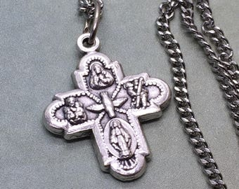 4-way cross necklace. Catholic jewelry. Christian gift. Confirmation gift. religious holy medal. faith.