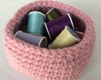 Small Square Base Crochet Basket/Blossom