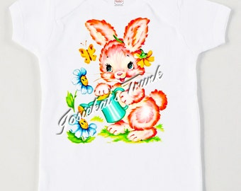 Baby Bunny Shirt - Toddler Garden Pink Tee - Infant Rabbit Tee - Retro Custom Size Personalized Shirt - Vintage T Shirt Easter