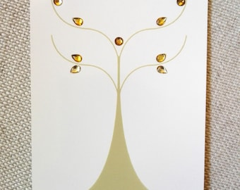 "Postcard card ""Albero"" gold"
