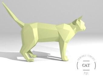 Printable DIY template (PDF).  Cat low poly paper model template. 3D animal paper sculpture. Origami. Papercraft. Cardboard animal.