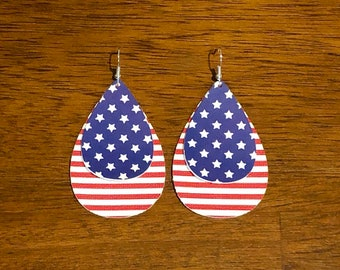 American Flag Faux Leather Earrings | 4th of July Jewelry | Memorial Day Jewelry | Veteran's Day Jewelry | Patriotic Gift | Vegan Leather
