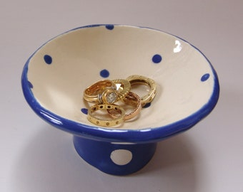 Delft Blue & white pottery Ring Dish for kitchen or bath, ceramic candle holder, whimsical dresser jewelry dish