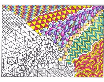 Printable Zendoodle Coloring Page, Inpsired by Zentangle, Page 56