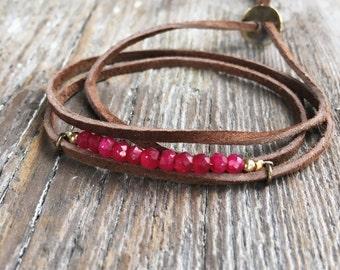 Ruby bracelet - adjustable bracelet - wrap bracelet - suede wrap bracelet - gemstone bracelet - boho bracelet - vegan jewelry