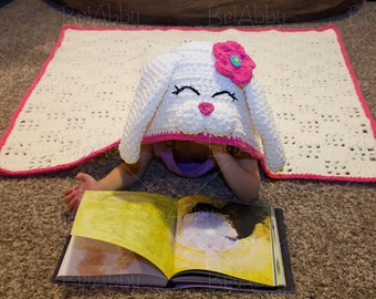 Hooded Bunny Blanket (7-12 years)- Ready to ship sale!