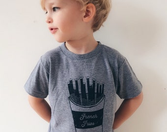 French Fries Tee, Toddler T-Shirt, Trendy Kids Clothes, Child T-Shirt, Screen Printed Shirts, Hipster Kids