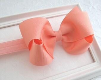 Peach Bow Headband, Baby Headband, Newborn Headband, Toddler Headband, Peach Hair Bow, Infant Headband, Hair Bow Headband