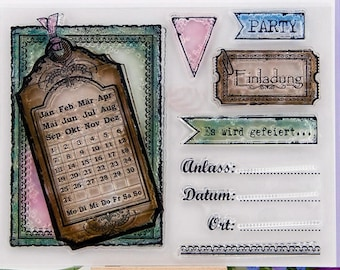 Clear Stempels - clear stamps-transparent stempels (party & agenda)duits CS0037