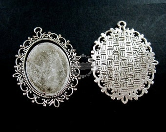 5pcs 30x40mm setting size vintage antiqued silver oval pendant bezels settings tray 1421040