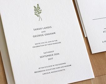 Letterpress Wedding Invitation - Maidenhair Fern - tasteful, simple Letterpress Wedding Invitation
