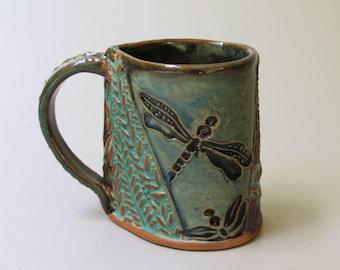 Dragonfly Pottery Mug Hand Built Stoneware