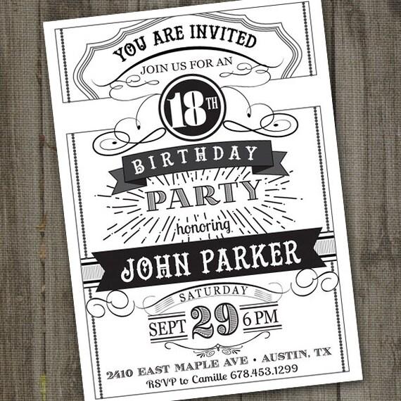 Famoso Vintage Retro Birthday Invitation PRINTABLE Chalkboard IB14