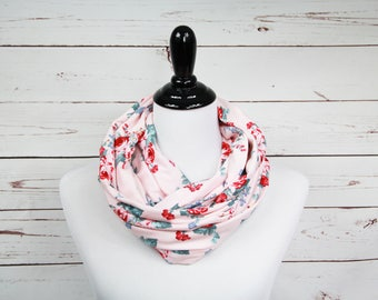Pale Pink Floral Infinity Scarf - Valentines Day Scarf