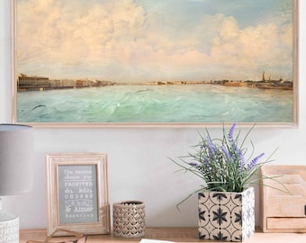 Panoramic wall art print, St Petersburg city photography, Extra large art, Panoramic photo, pastel mint blue living room decor, 12x24, 24x48