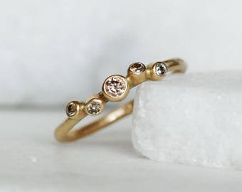 Ready to Ship in Size 6.5 - 5 Diamond Wedding Ring - Dandelion Wish Engagement Ring - Choose 14k or 18k Eco-Friendly Gold