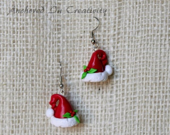 Santa Hat Earrings, Holiday Earrings, Christmas jewelry