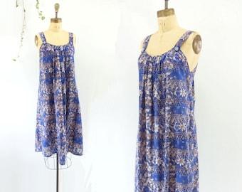 70s Sundress 70s Cotton Dress 70s Summer Dress Batik Dress Floral Sundress Blue Sleeveless Dress xs / s