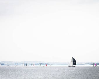 Little Boats Print - Regatta Fine Art Photograph - Black Sails on a Calm Irish Day Art