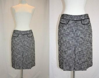 1990s Brown Tweed Skirt Small Kick Pleats Modern Classic Cute Vintage Retro 90s Hipster Office School Secretary