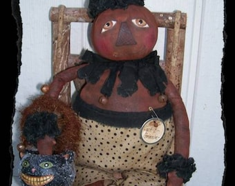 Jack B Grinin, A Primitive, Folk Art, Pumpkin, Halloween, Doll, Pattern by Pea Picker's Primitives